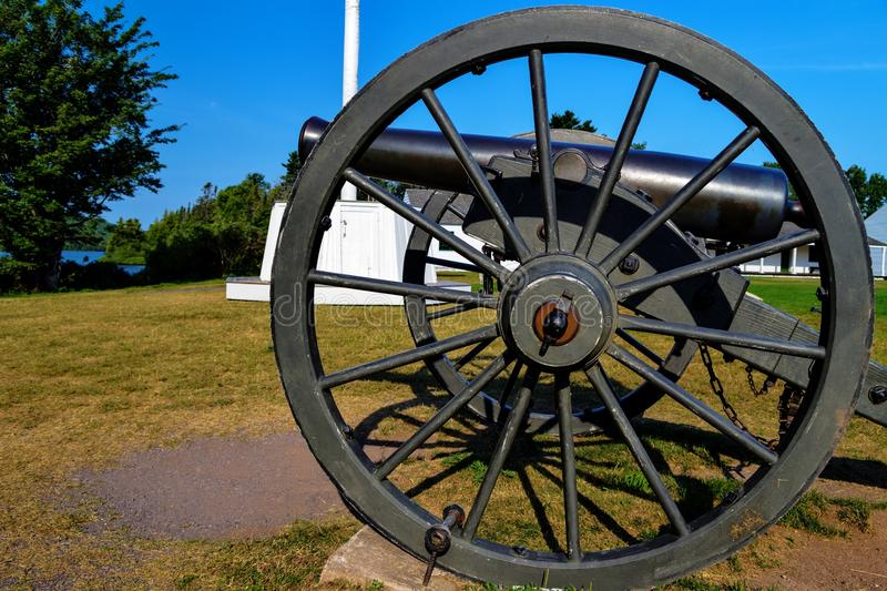 Ready, Aim, Fire!. Historical cannon ready for action. Fort Wilkins State Park. Copper Harbor, Michigan stock image