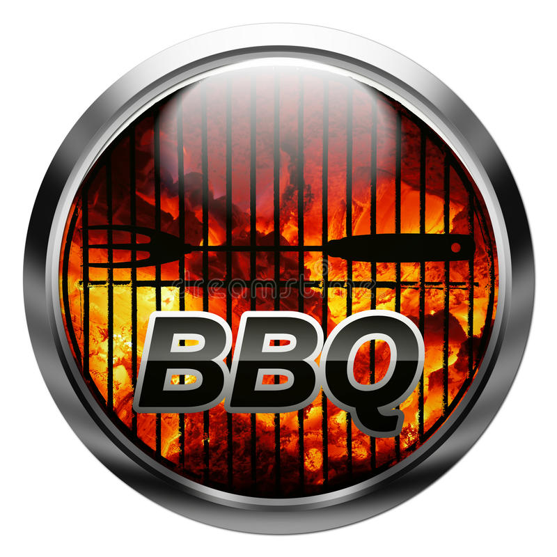 Ready for bbq. Metallic button with charcoal, bbq fork, rack, and text stock illustration