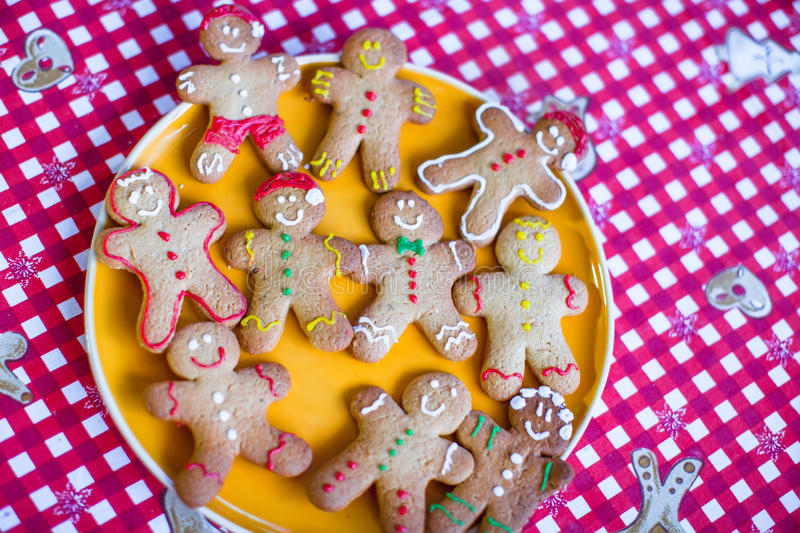Ready Christmas gingerbread cookies on a plate. See my other works in portfolio royalty free stock image