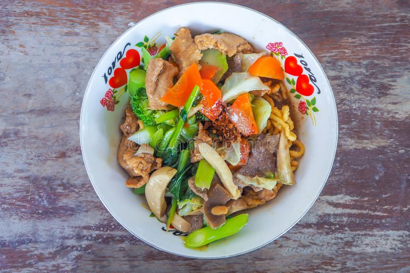 Ready for the delicious. Noodles in Thick Gravy with pork and mu royalty free stock images