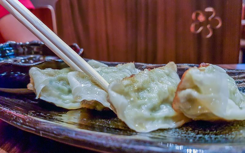 Ready for the delicious. Japanese gyoza, dumplings snack with s royalty free stock photos