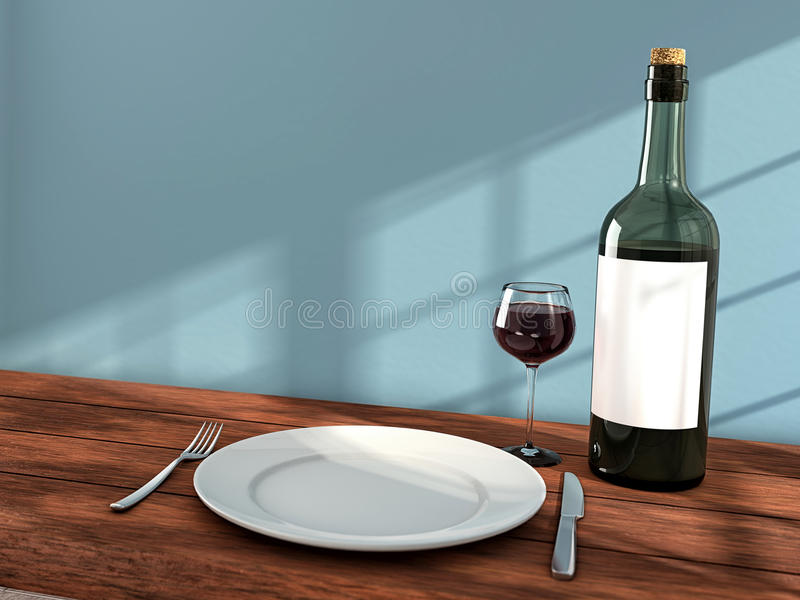 Ready for dinner. Knife, fork, wine and white dish on the dining table vector illustration