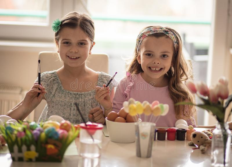 We are ready for Easter children`s joys royalty free stock images