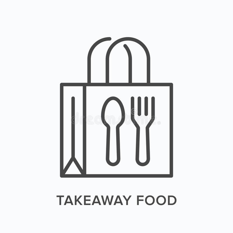 Free Ready Food Delivery Line Icon. Vector Outline Illustration Of Takeaway Lunch Service. Daily Meal In Papr Bag With Fork Stock Photos - 187063693