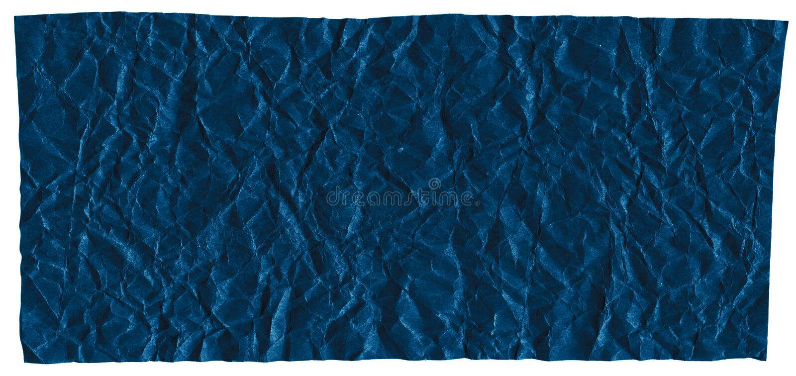 Ready frame for design, texture of crumpled craft paper, dark blue abstract background. Macro stock photos