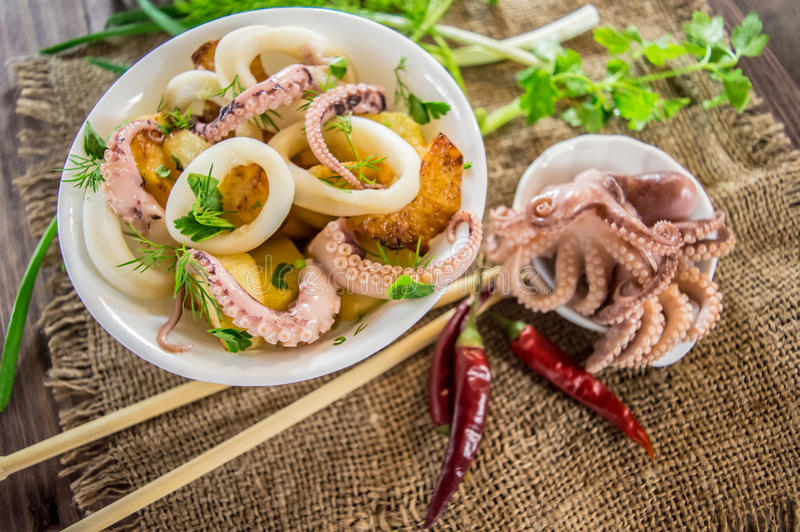 Ready fresh squid rings and tentacles of an octopus with stewed potatoes greens in rustic. Close-up royalty free stock images