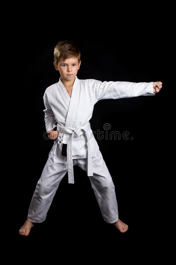 Ready front stance in karate with lower right arm clenched into fist and left arm straight hit stock photography