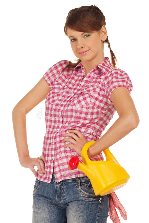 Ready for gardening. Girl with watering can is ready for gardening stock images