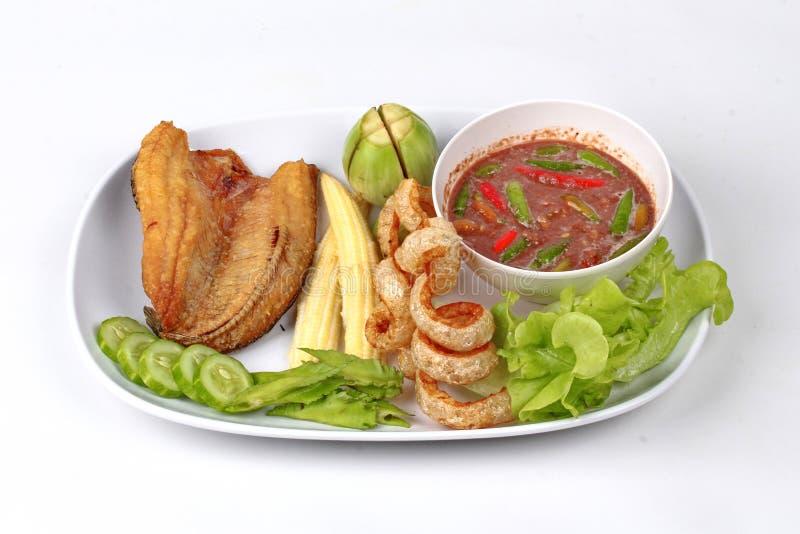 Ready ha servito la immersione piccante della pasta del gamberetto da Nam Prik Kapi fotografie stock