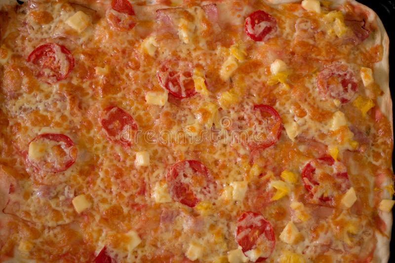 Ready homemade pizza with melted cheese stock image