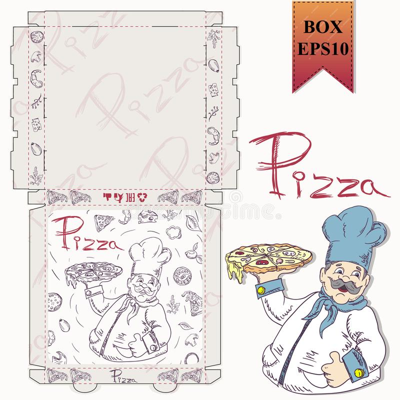 Ready made layout of the packaging box for pizza food design in the style of contour drawing depicting the products used for. Ready made layout of the box for vector illustration