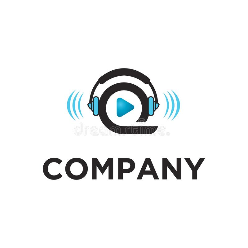 Play audio visual ready made logo royalty free illustration