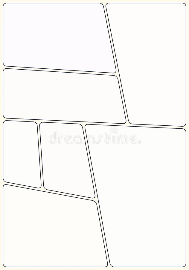 Ready manga storyboard layout template to create appealing comic book. 7 rounded areas, classic design, nice look. Print out in A4 stock illustration
