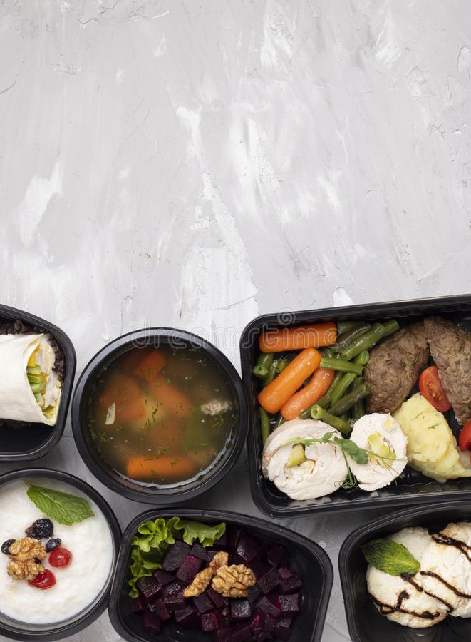 Pho bo soup and cutlets, boiled vegetables, steamed meat, asin meal royalty free stock photos