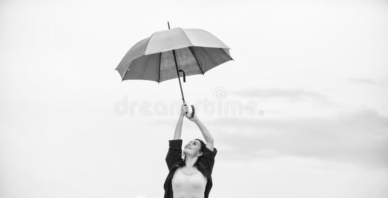 Ready for new adventures. autumn fashion. Rainbow umbrella protection. carefree time spending. pretty woman with stock image