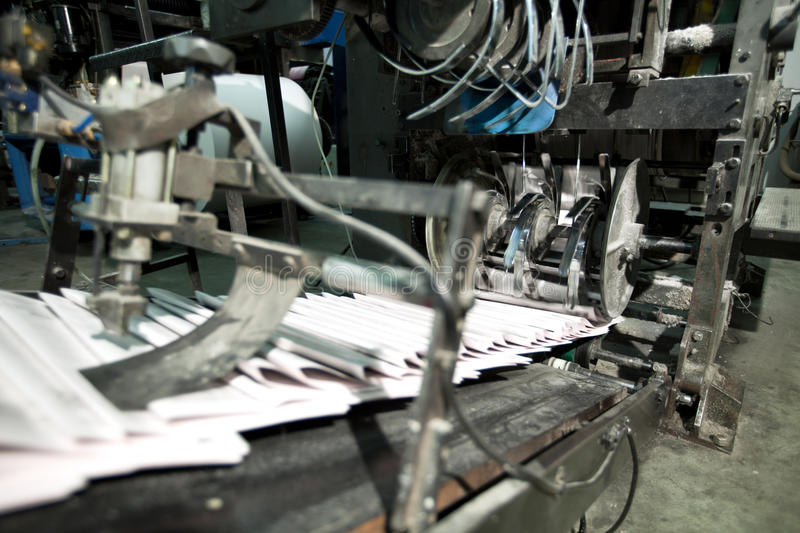 Ready Newspaper On Production Line Stock Image