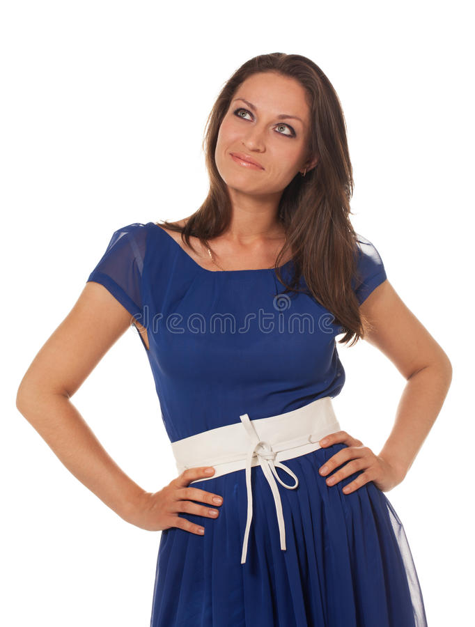 Ready for party. Girl in dress is ready for party royalty free stock image