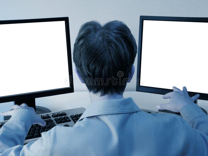 Ready per funzionare: svuoti gli schermi immagine stock libera da diritti