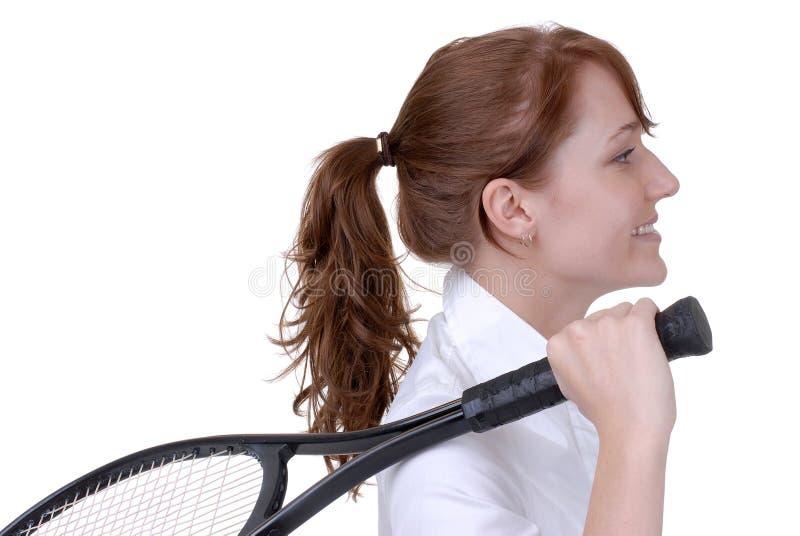Ready per giocare il tennis fotografie stock libere da diritti