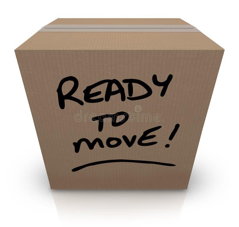 Ready per spostare la rilocazione commovente della scatola di cartone illustrazione di stock