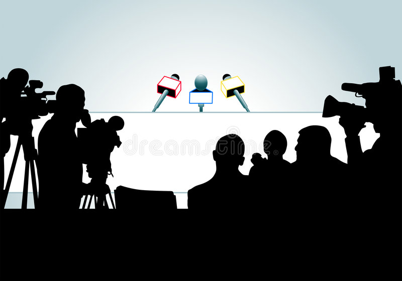 Ready for press conference vector illustration