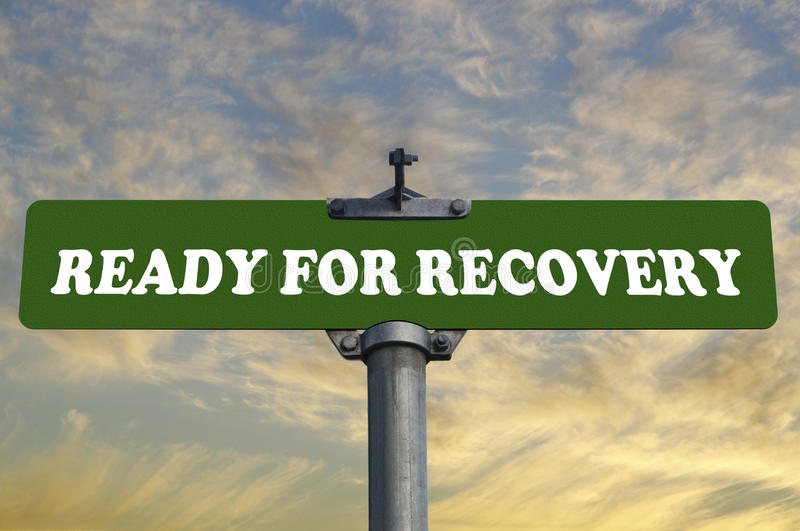Ready for recovery road sign. With nature background vector illustration