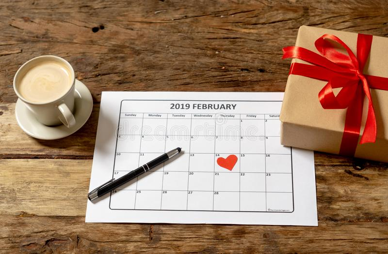 Ready for Saint Valentines day conceptual image of love you Gift and february calendar and coffee stock photography