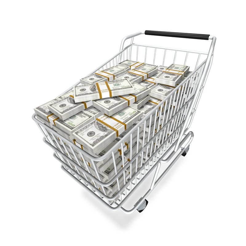 Ready for shopping. Shopping cart and stocks of dollars