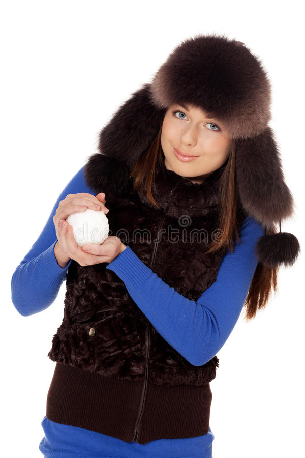 Ready for snowfight. Girl get herself ready for snowfight on isolated white royalty free stock image