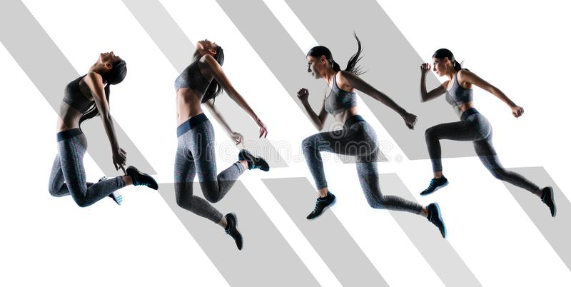 Ready steady go! Concept of endurance strength persistence in sport. Full length full size portrait beautiful sporty. Energetic active purposeful sportswoman stock photo