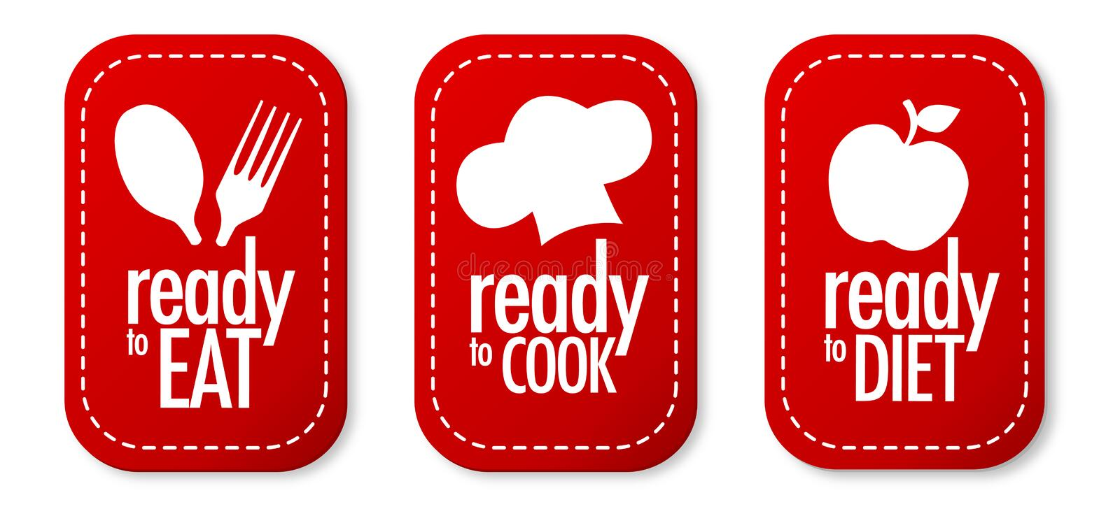 Ready to eat, diet and cook stickers royalty free illustration