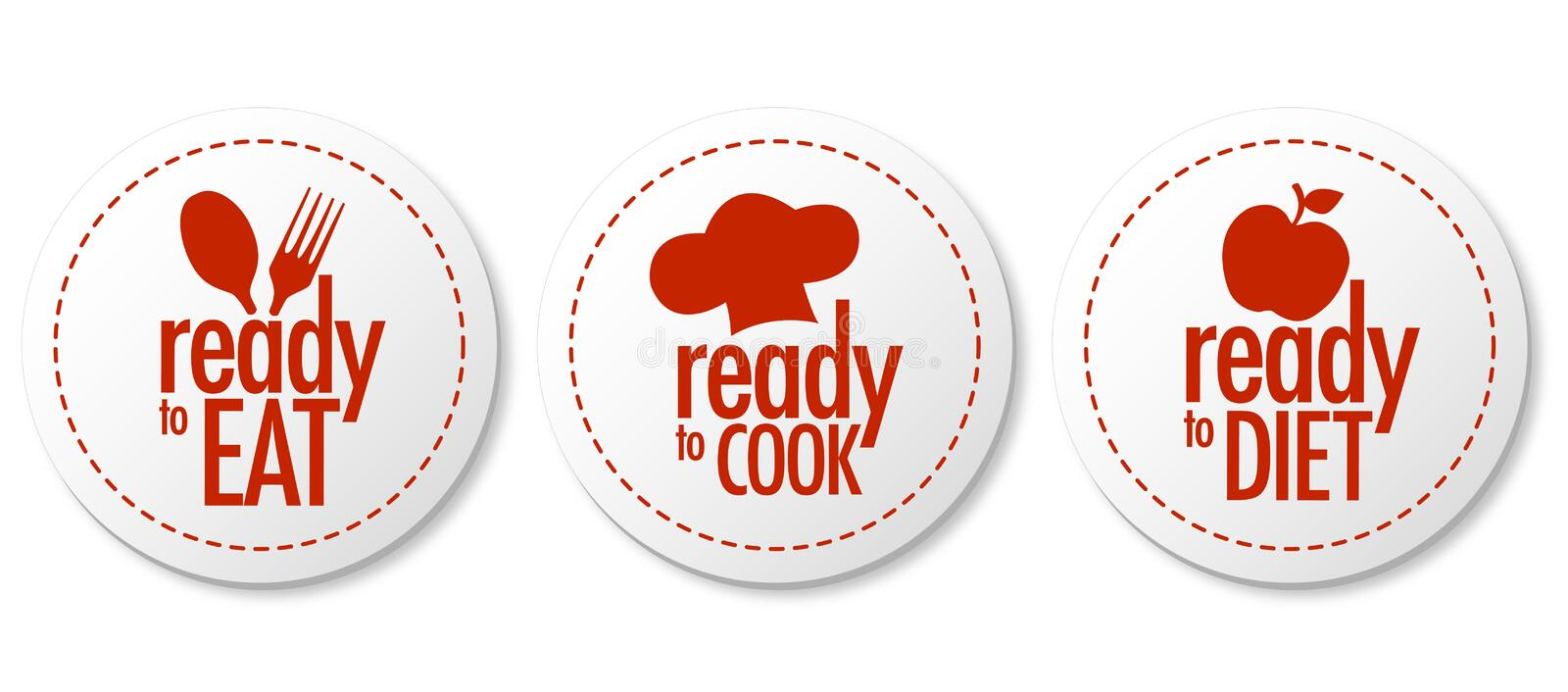 Ready to eat, diet and cook stickers stock illustration