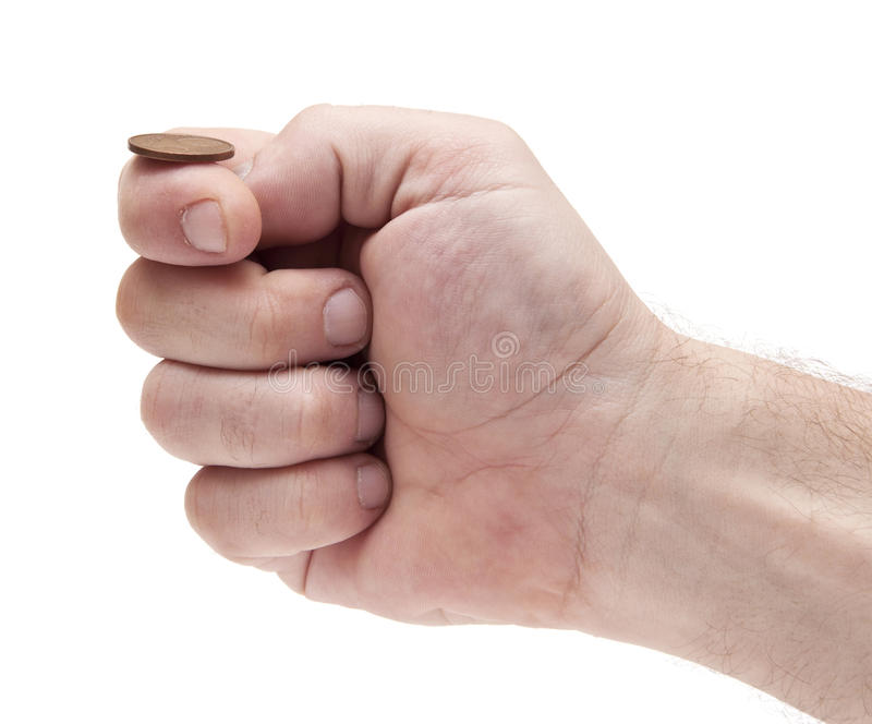 Ready to flip coin: heads or tails? stock photo