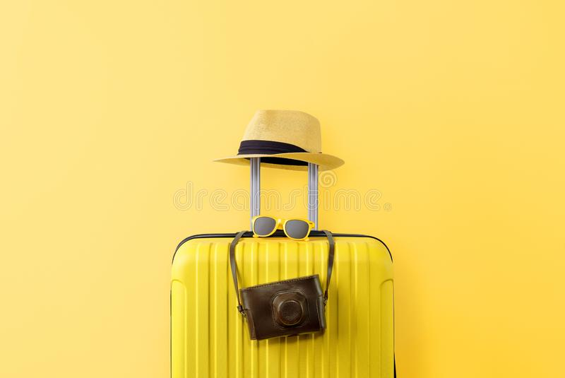 Travel equipment over the empty wall stock image