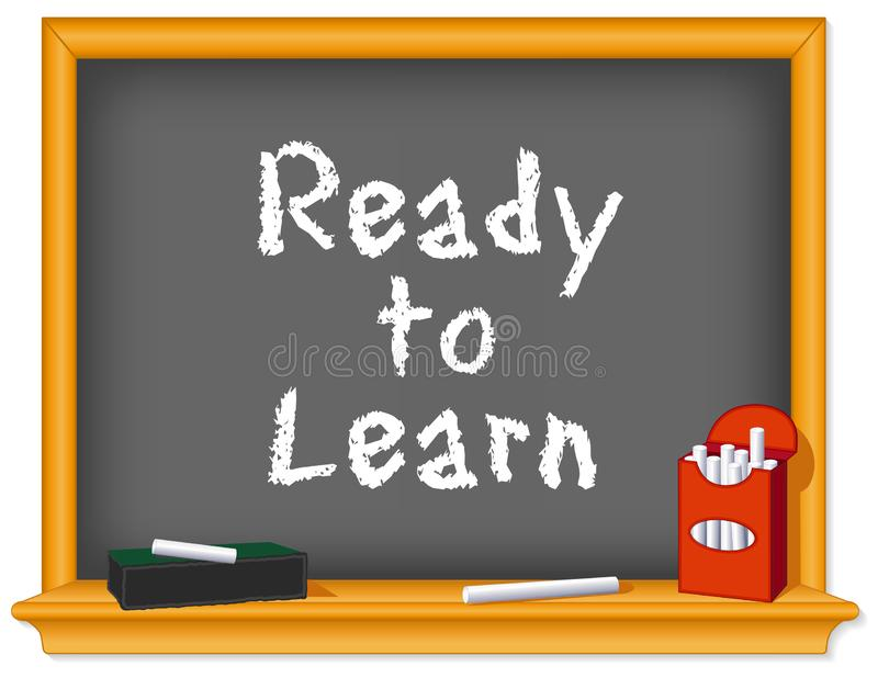 Ready to Learn, Back to School Chalkboard, Box of Chalk royalty free illustration