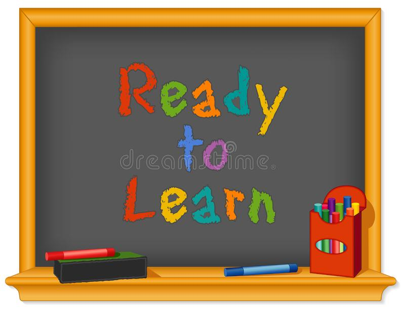 Ready to Learn, Back to School, Chalkboard, Box of Color Chalk stock illustration
