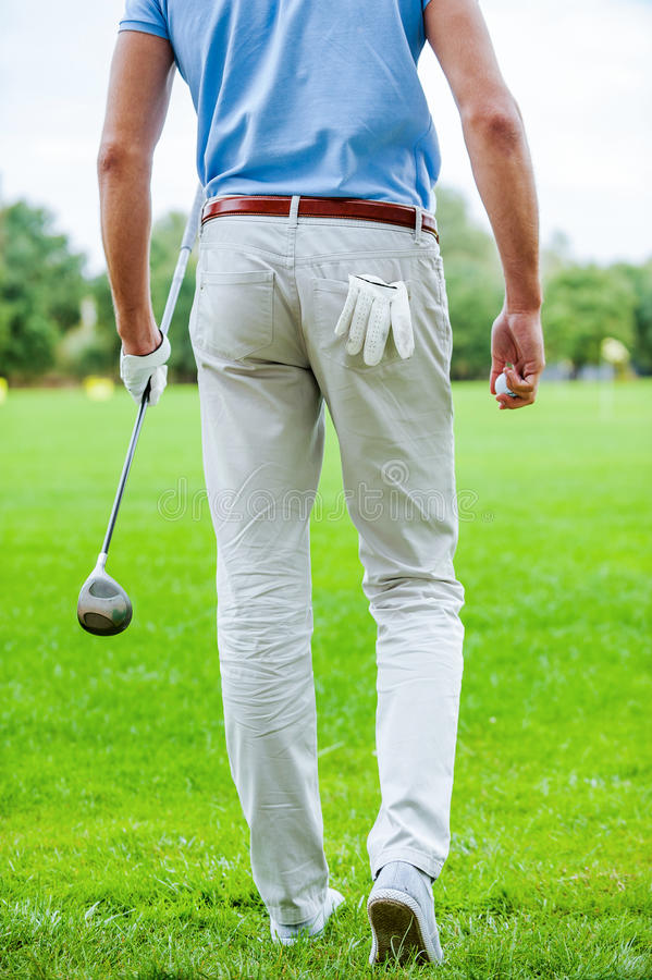 Ready to play golf. Rear view of male golfer walking away while holding golf ball and driver royalty free stock image