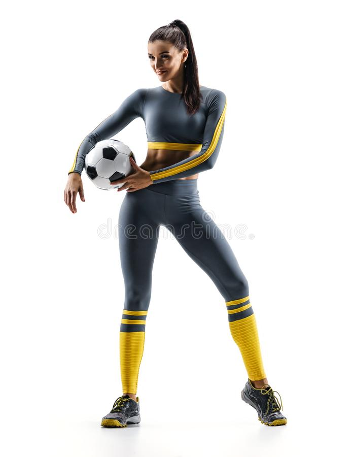 Soccer player woman standing in silhouette isolated on white background. stock photos