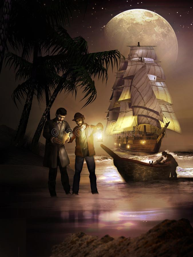 Ready to search for the treasure stock illustration