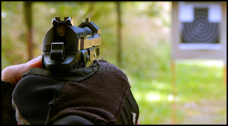 Ready to shoot. Grand Power on shooting range ready to fire royalty free stock images