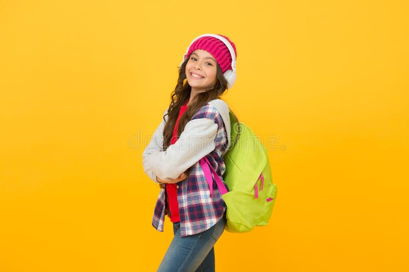 Ready to study. happy holiday time. child casual style. modern online education. childhood happiness. small girl stock photography