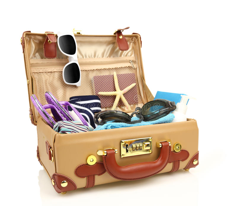 Ready to travel open suitcase royalty free stock images
