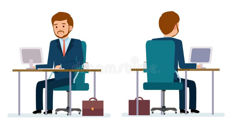 Ready to use character creation set. Businessman sitting at the table and working on the computer. Business, office work, workplace. Flat design vector stock illustration