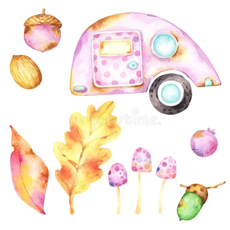 Ready to use collection of isolated watercolor images on white background including cute tiny purple caravan with a polka dot door vector illustration