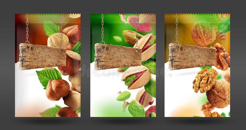 Nuts package set stock photography
