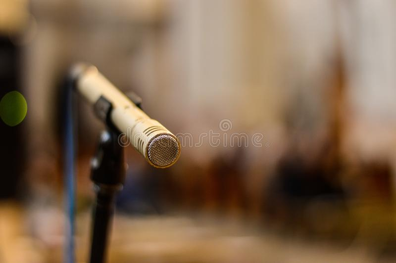 A ready to use microphone stock photography