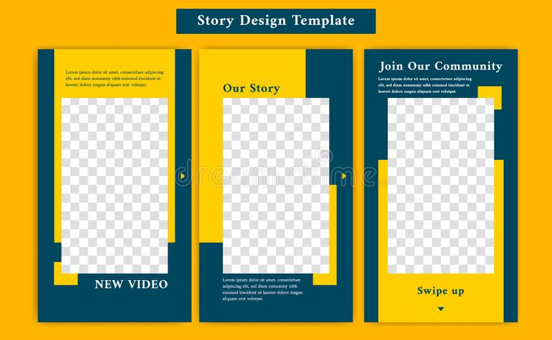 Ready to use social media Instagram story template with casual sporty and formal style in yellow and navy blue color vector illustration