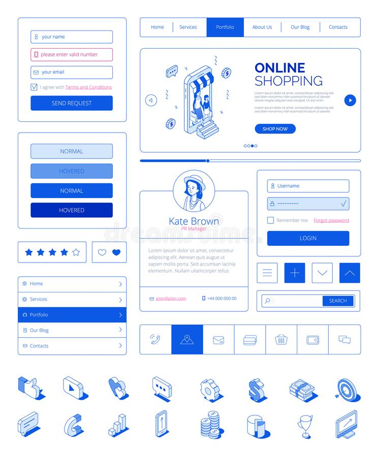 Ready to use user interface,UI layout kit with modern isometric people characters.Responsive website,landing page royalty free illustration