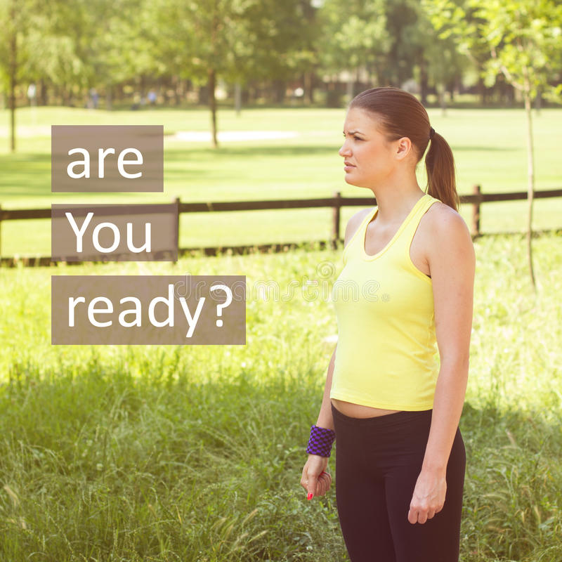 Ready For Training. Fitness young woman ,ready for training, outdoor activity royalty free stock image