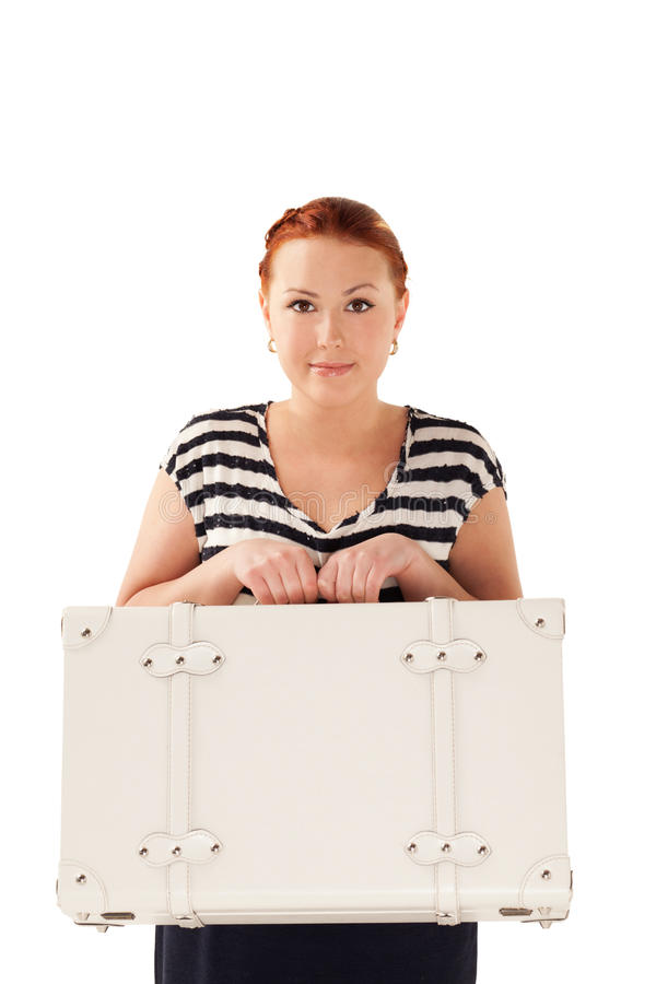 Ready for vacations. Woman with white suitcase is ready for vacations royalty free stock photos